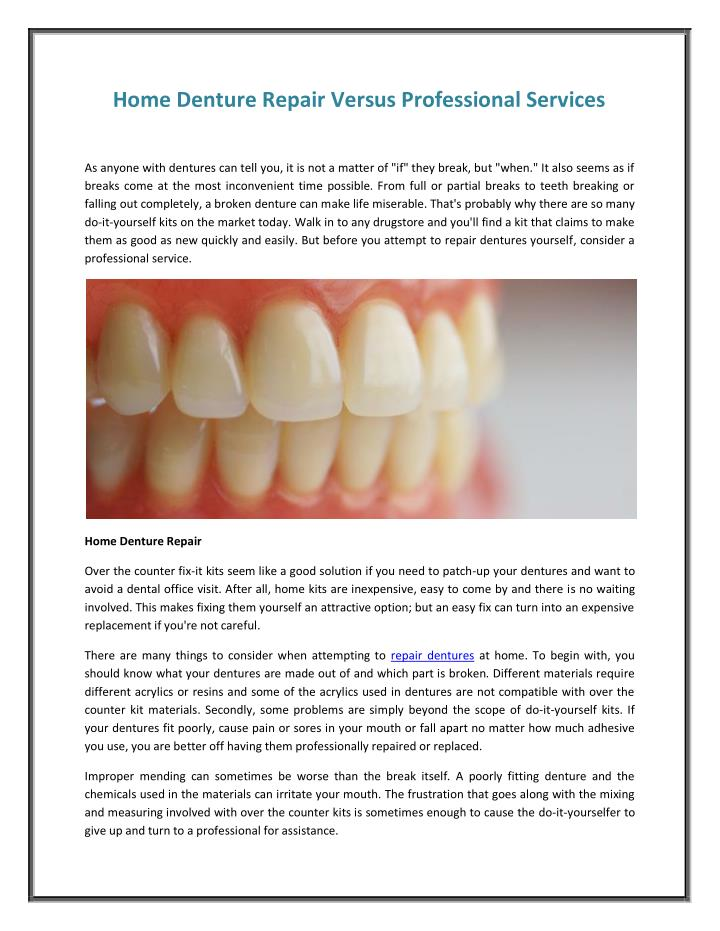 Home Denture Repair Versus Professional Services