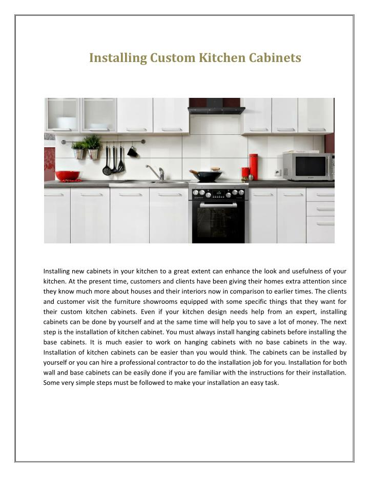 Installing Custom Kitchen Cabinets