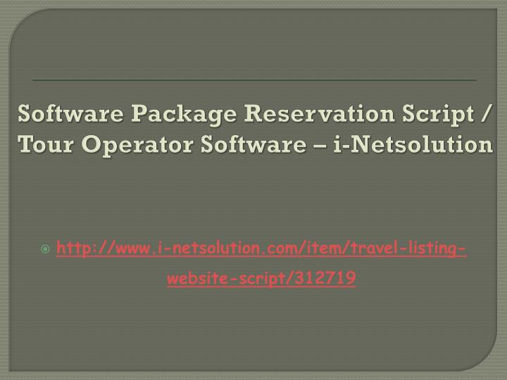 Software package reservation script tour operator software i netsolution