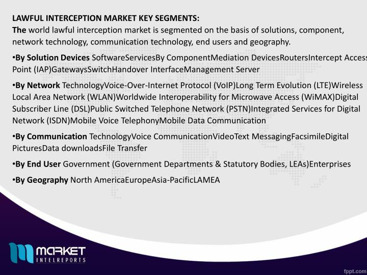 LAWFUL INTERCEPTION MARKET KEY SEGMENTS: