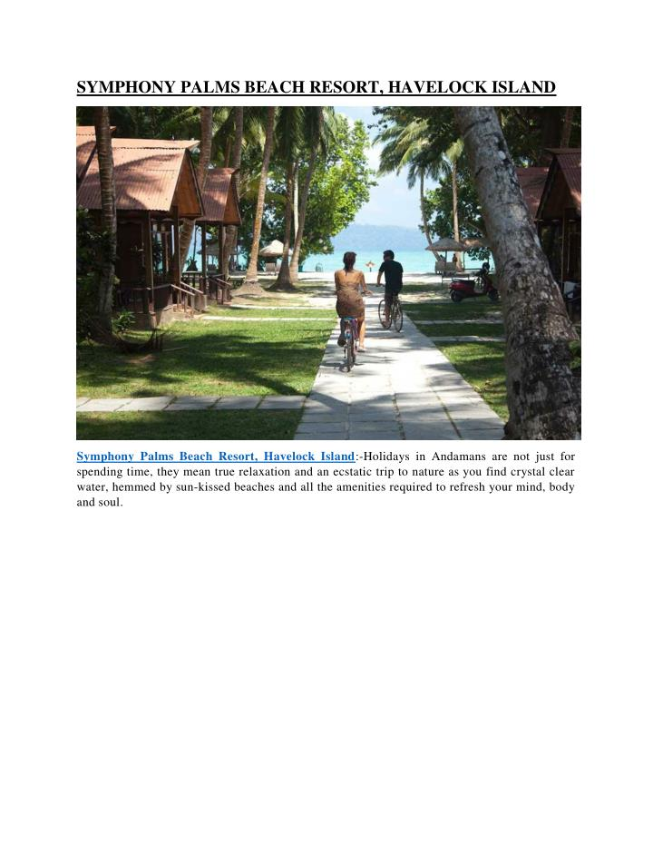 SYMPHONY PALMS BEACH RESORT, HAVELOCK ISLAND