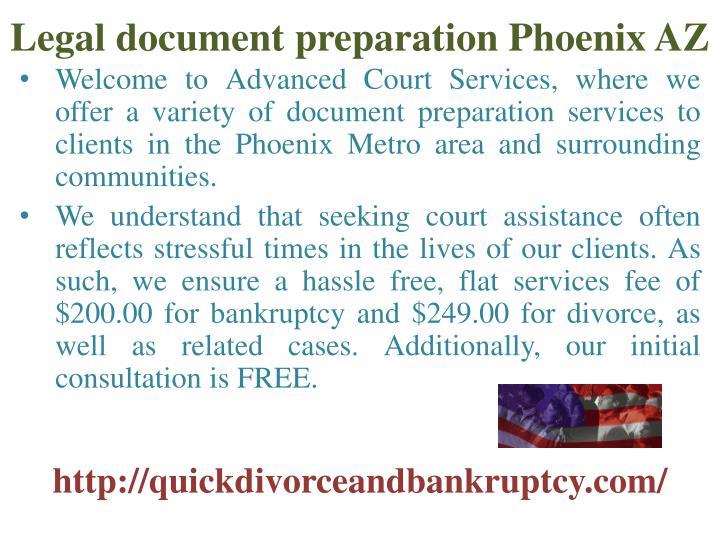 Legal document preparation Phoenix AZ