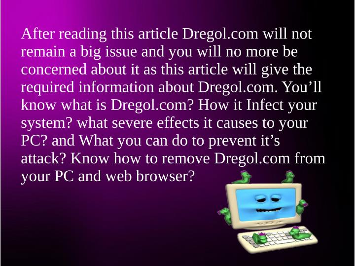 After reading this article Dregol.com will not