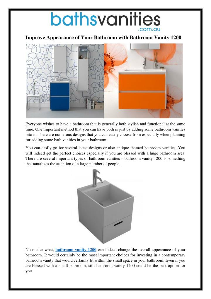Improve Appearance of Your Bathroom with Bathroom Vanity 1200
