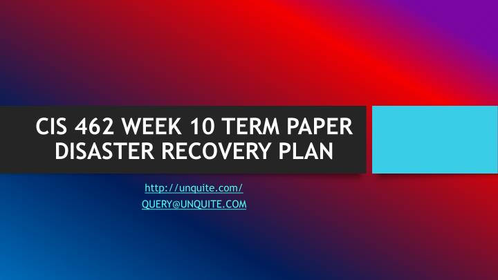 Disaster Recovery Plan Research Pap