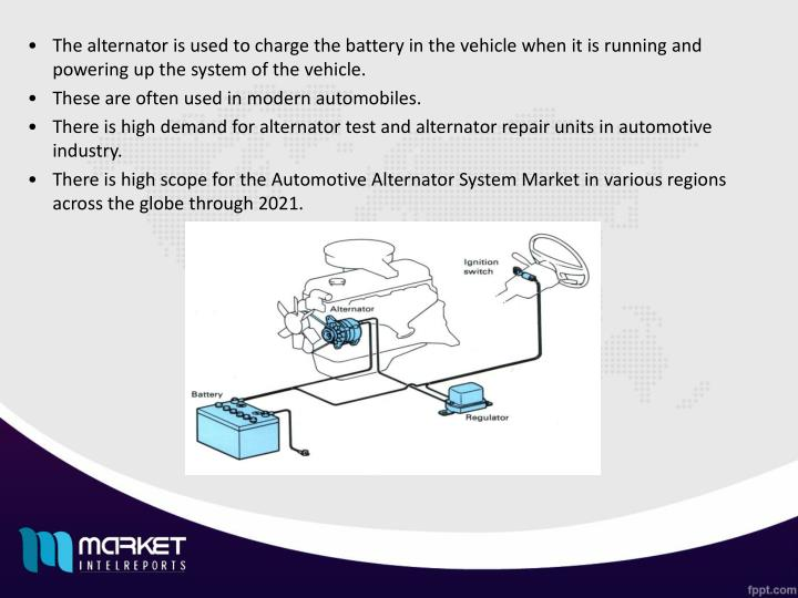 The alternator is used to charge the battery in the vehicle when it is running and powering up the system of the vehicle.