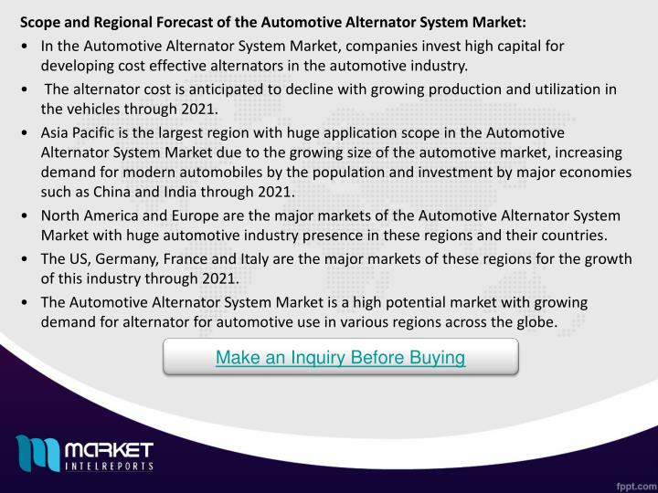 Scope and Regional Forecast of the Automotive Alternator System Market: