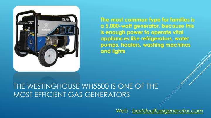 The most common type for families is a 5,000-watt generator, because this is enough power to operate vital appliances like refrigerators, water pumps, heaters, washing machines and