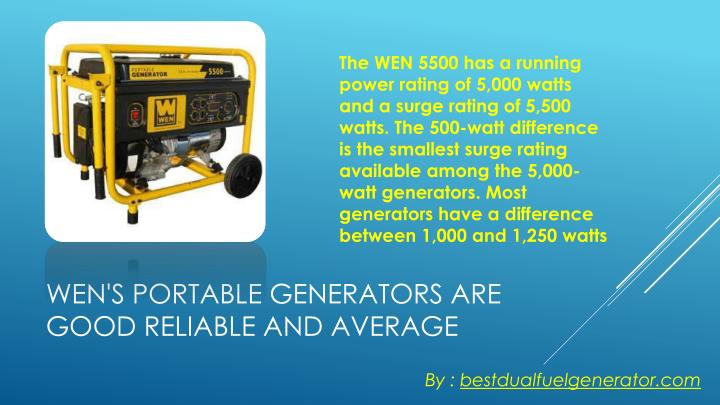 The WEN 5500 has a running power rating of 5,000 watts and a surge rating of 5,500 watts. The 500-watt difference is the smallest surge rating available among the 5,000-watt generators. Most generators have a difference between 1,000 and 1,250