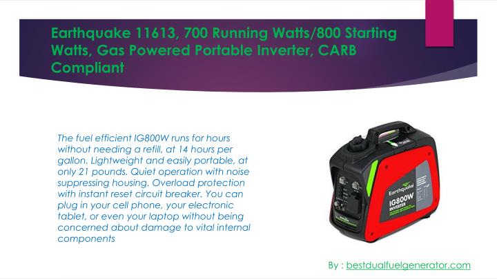 Earthquake 11613 700 running watts 800 starting watts gas powered portable inverter carb compliant
