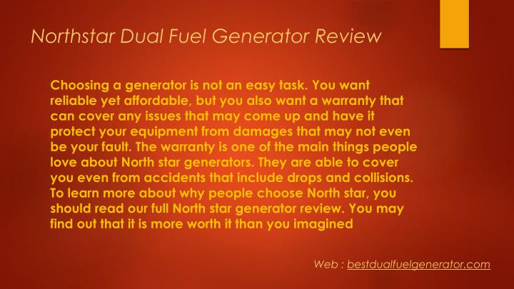 Northstar dual fuel generator review