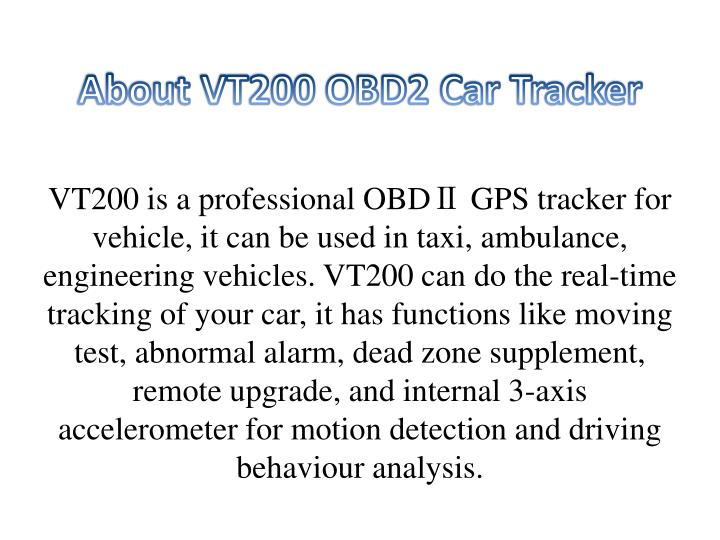 About vt200 obd2 car tracker