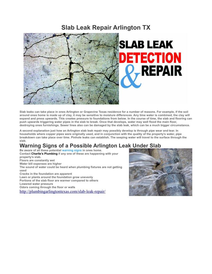 Slab Leak Repair Arlington TX
