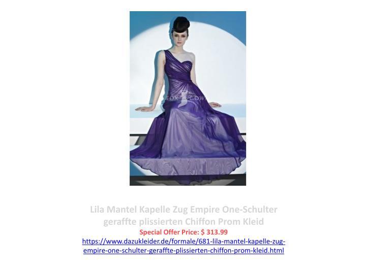Lila Mantel Kapelle Zug Empire One-Schulter geraffte plissierten Chiffon Prom Kleid
