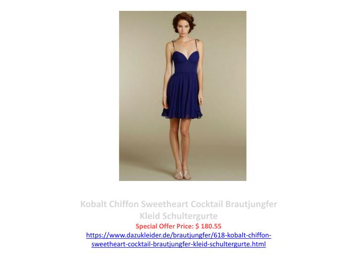 Kobalt Chiffon Sweetheart Cocktail Brautjungfer Kleid Schultergurte