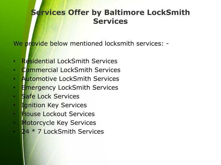 Services Offer by Baltimore LockSmith Services