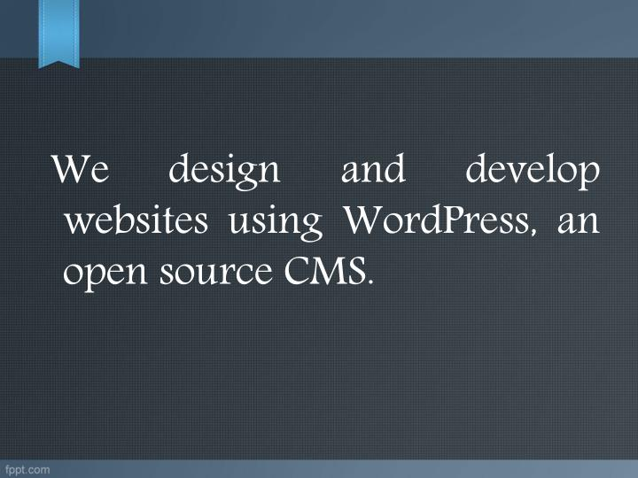 We design and develop websites using WordPress, an open source CMS.