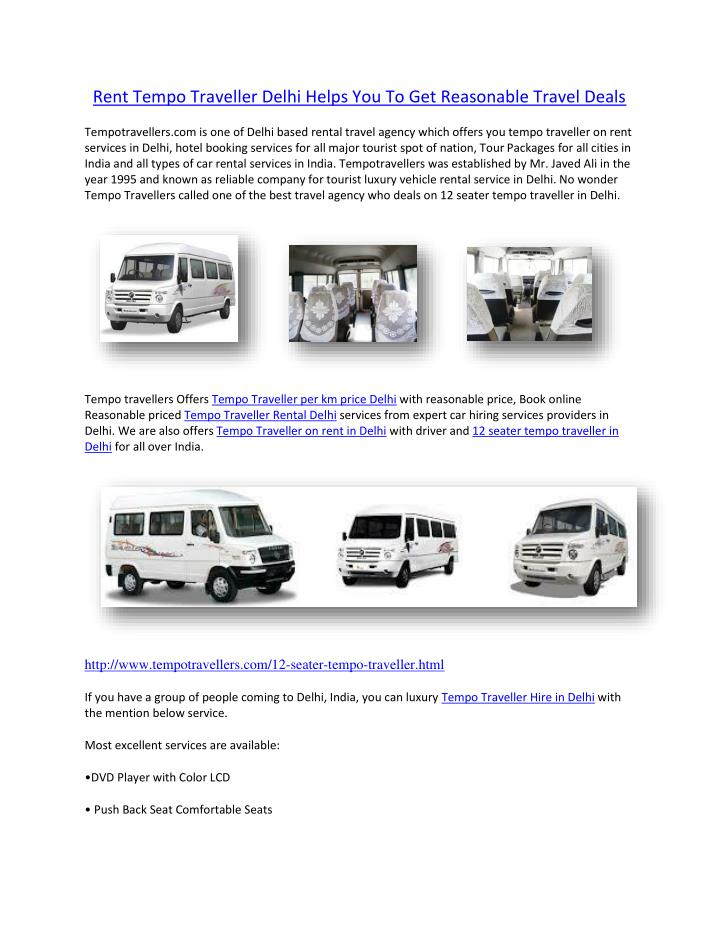 Rent Tempo Traveller Delhi Helps You To Get Reasonable Travel Deals