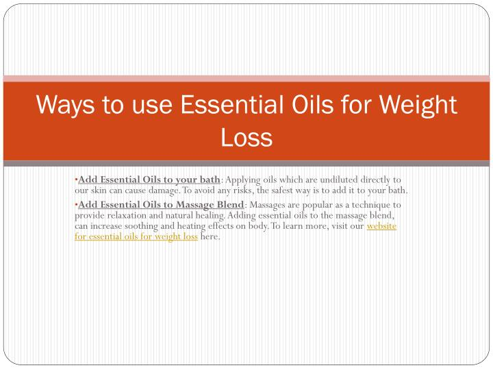 Ways to use Essential Oils for Weight Loss