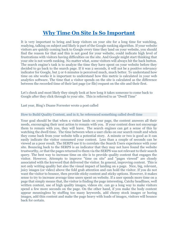 Why Time On Site Is So Important