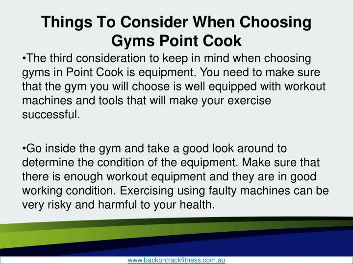 Things To Consider When Choosing Gyms Point Cook