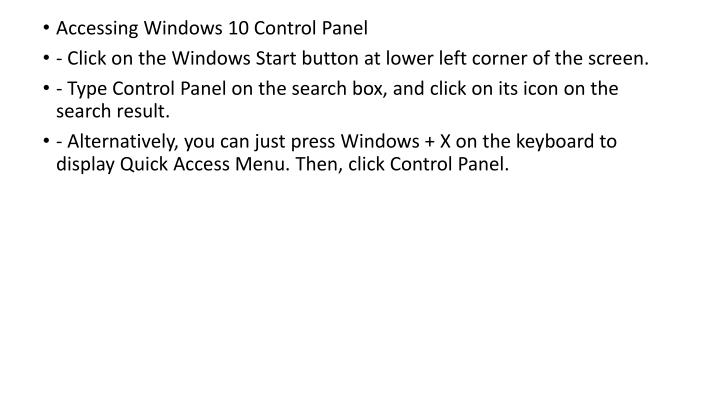 Accessing Windows 10 Control Panel