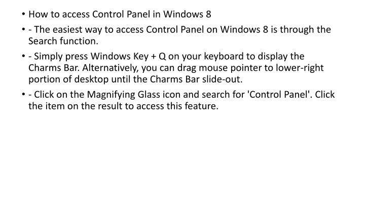 How to access Control Panel in Windows 8