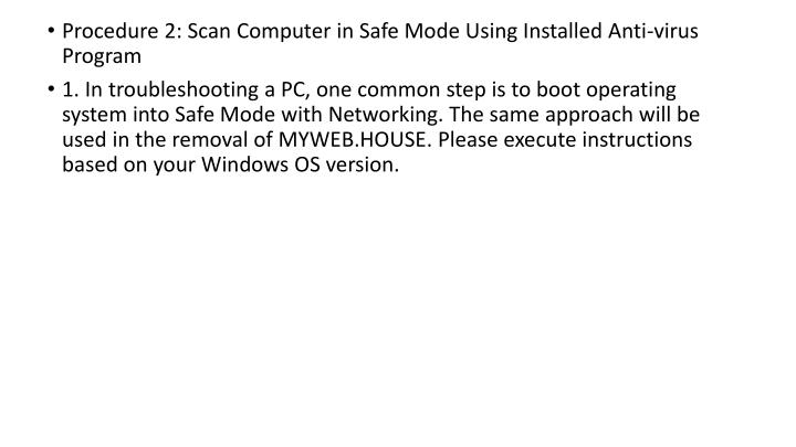Procedure 2: Scan Computer in Safe Mode Using Installed Anti-virus Program
