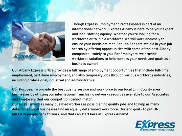 Though Express Employment Professionals is part of an
