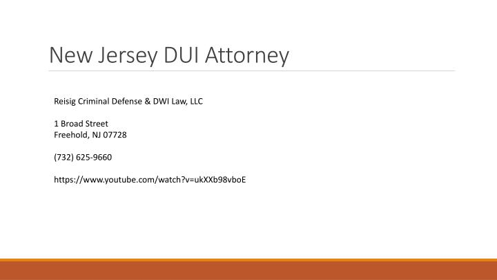New Jersey DUI Attorney