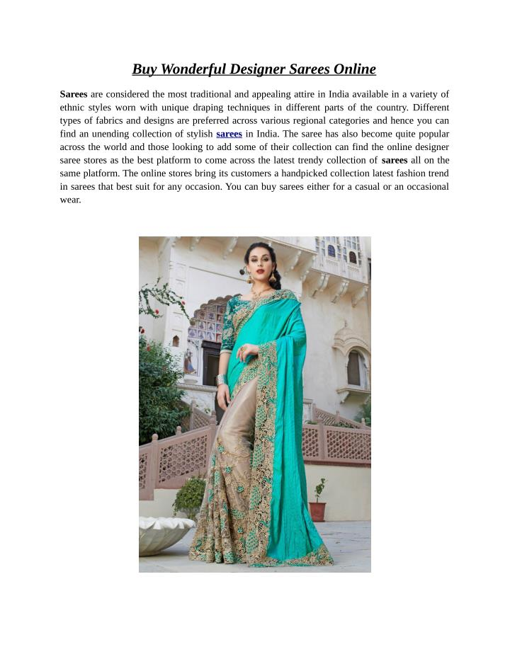 Buy Wonderful Designer Sarees Online