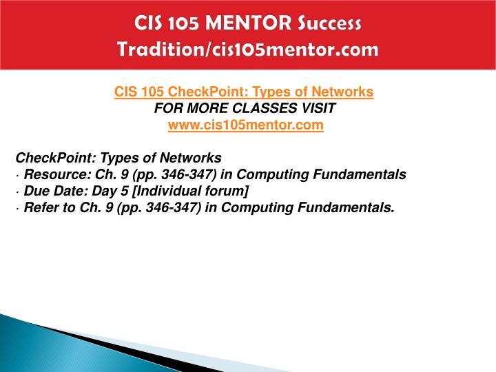 CIS 105 MENTOR