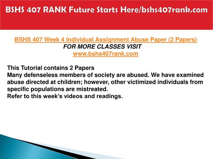 BSHS 407 RANK Future Starts Here/bshs407rank.com