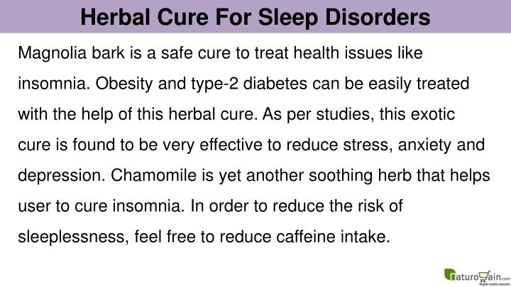 Herbal Cure For Sleep Disorders