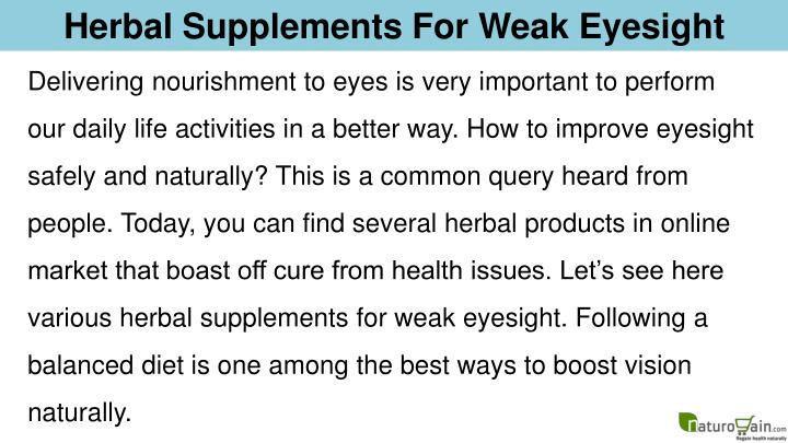 Herbal Supplements For Weak Eyesight