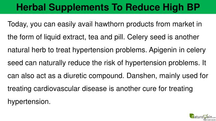 Herbal Supplements To Reduce High BP
