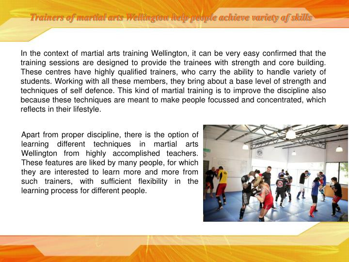 Trainers of martial arts Wellington help people achieve variety of skills