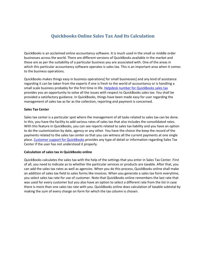 Quickbooks Online Sales Tax And Its Calculation