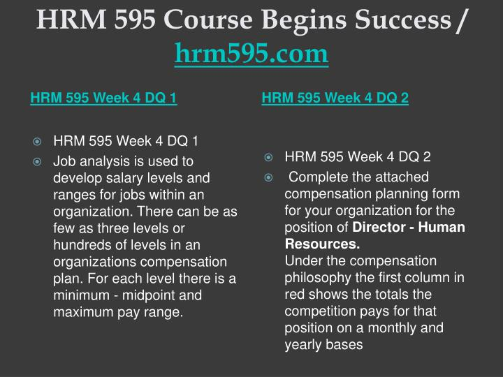 HRM 595 Course Begins Success /