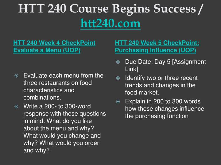 HTT 240 Course Begins Success /