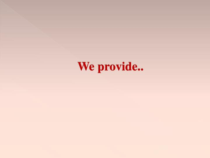 We provide..