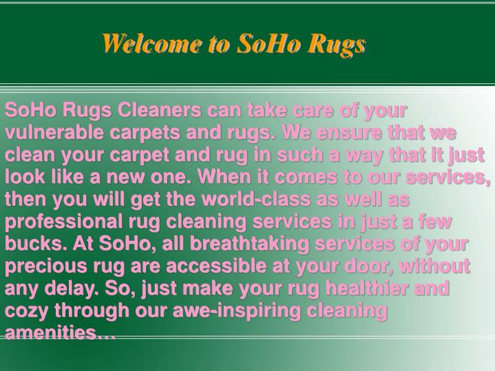 Welcome to SoHo Rugs