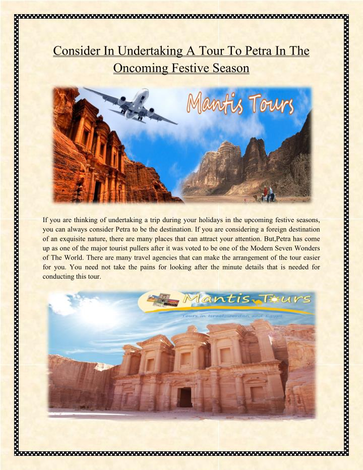 Consider In Undertaking A Tour To Petra In The