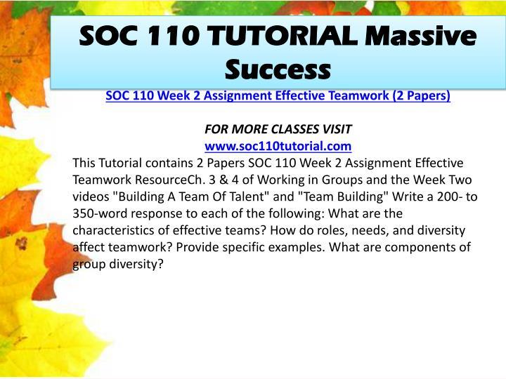 SOC 110 TUTORIAL Massive Success