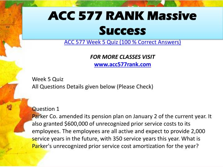 ACC 577 RANK Massive Success