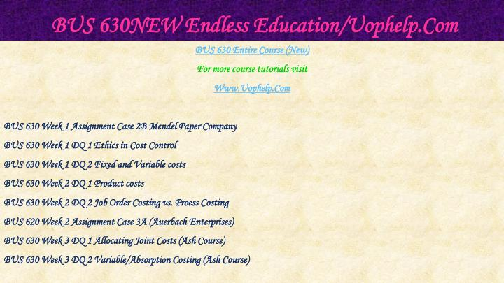 Bus 630new endless education uophelp com1
