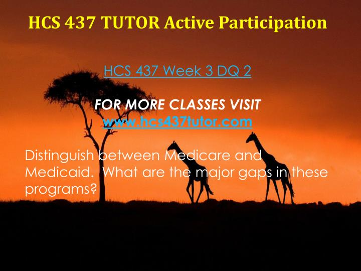 HCS 437 TUTOR Active Participation