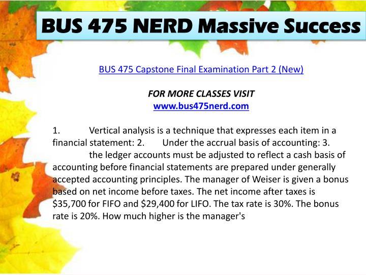 BUS 475 NERD Massive Success