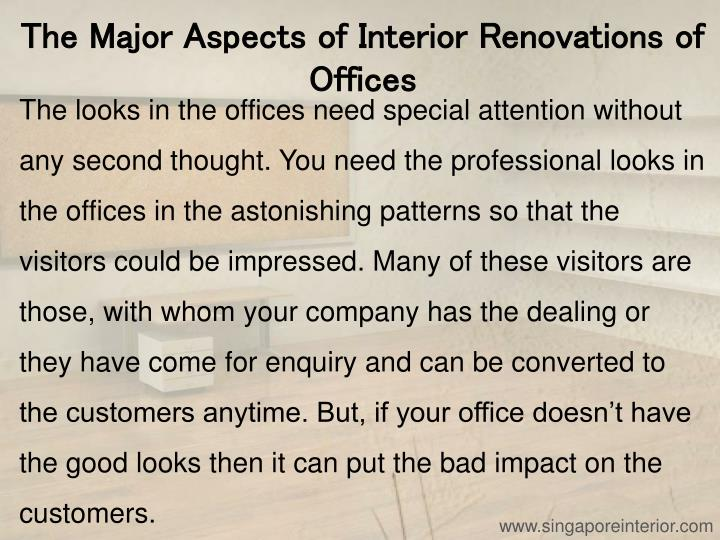 The Major Aspects of Interior Renovations of Offices