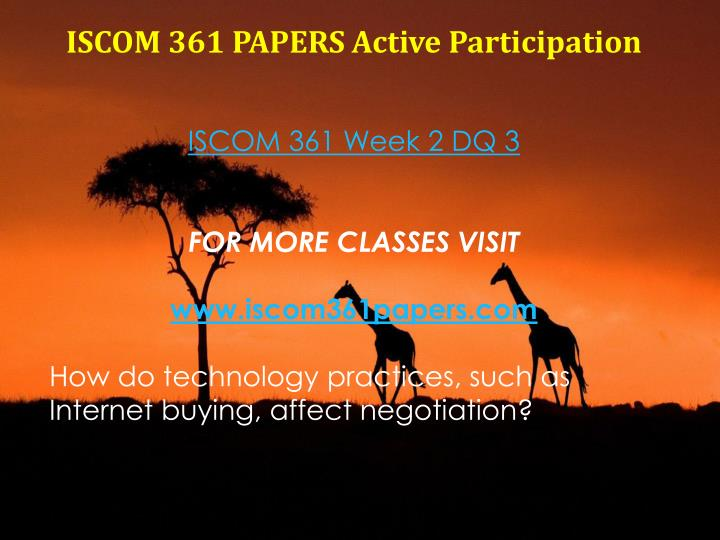 ISCOM 361 PAPERS Active Participation